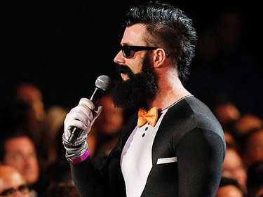 San Francisco Giants pitcher Brian Wilson, wearing a spandex tuxedo, takes part in the ESPY Awards show in Los Angeles on July 13, 2011. (REUTERS/Mario Anzuoni)