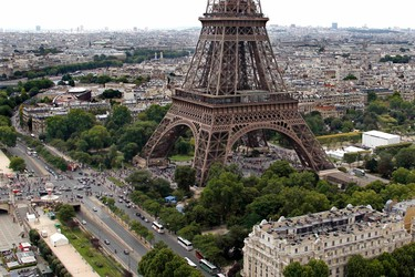 An aerial view of the Eiffel Tower in Paris on Bastille Day, July 14, 2011.  REUTERS/Charles Platiau