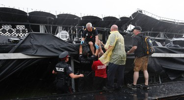 There was a severe thunder storm which caused the MBNA Stage to fall down during the Cisco Ottawa Bluesfest Sunday July 17, 2011.  Fans left and Police and Firemen arrived to see if anyone was hurt.     TONY CALDWELL/OTTAWA SUN/QMI AGENCY