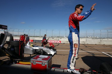 Driver Graham Rahal check out the track from pit row at the Indy at City Centre Airport  in Edmonton, AB on July 23, 2011.  PERRY MAH/EDMONTON SUN QMI AGENCY