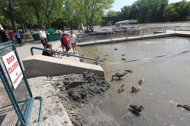 The riverwalk remains underwater in Winnipeg.  it is not expected to be open at all this summer, high water levels may even spoil skating at The Forks this winter.  Thursday, August 11, 2011.