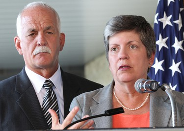 Public Safety minister Vic Toews (l) and U.S. Secretary of Homeland Security Janet Napolitano speak during a press conference on border security in Winnipeg Monday August 15, 2011. BRIAN DONOGH/WINNIPEG SUN/QMI AGENCY