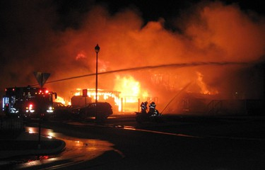 Submitted photo of Leduc, Alberta fire that destroyed 6 homes Sunday Aug. 21, 2011. PHOTO BY Melanie Shipway