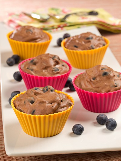 Like muffins with a lighter touch, these small servings of Blueberry Chocolate Mousse make for delightful desserts. (Courtesy of the BC Blueberry Council)