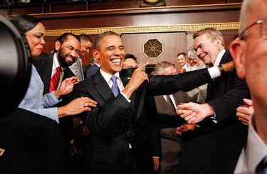 """US President Barack Obama arrives to address a Joint Session of Congress on September 8, 2011, on Capitol Hill in Washington, DC. Obama Thursday unveiled a 447 billion USD jobs plan which he said would """"jolt"""" the stalled economy at an """"urgent"""" time for a nation facing a deep economic and political crisis. (REUTERS POOL/Kevin Lamarque)"""