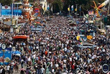 General over view showing people visiting the opening day of the 178th Oktoberfest in Munich Sept. 17, 2011.   REUTERS/Michaela Rehle