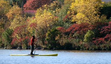 autumn-kayaker1 - October 9, 2011  - A man stand-up kayaks while taking advantage of summer-like temperatures at Mooney's Bay Sunday, October 9, 2011. ( DARREN BROWN/QMI AGENCY)