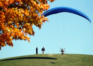 Annis Shadid catches some air while catching some rays at Mooney's Bay in Ottawa, Oct. 9, 2011. (DARREN BROWN/QMI AGENCY)