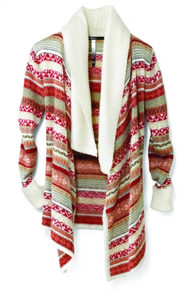Fair Isle and Navaho-inspired patterns are especially prevalent on free-form sweaters. This Kensie Birch Multi 'Fair Isle' open cardigan ($88, Sears, sears.ca) has colours that brighten up the season. (Supplied)