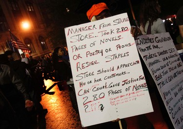 An Occupy Wall Street campaign demonstrator stands in Zuccotti Park, near Wall Street in New York October 13, 2011.REUTERS/Shannon Stapleton