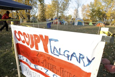 A sign welcomes people to an Occupy Calgary camp on St. Patrick's Island in Calgary on Friday, October 14, 2011. The camp, which was okayed by the city, is said to be a safe zone for people who would be involved in the Occupy Calgary protest downtown the following day. LYLE ASPINALL/QMI AGENCY