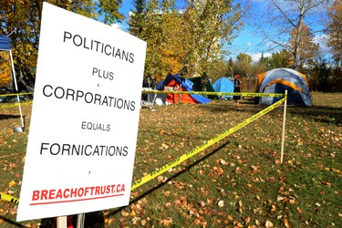 """The Occupy Wall Street protest """"safe camp"""" set up on St. Patrick's Island in downtown Calgary, Alberta on October 13,2011. This is part of a 21 days of protests that are springing up all over the world to speak out against governments and create some sort of dialog between governing bodies and the average person. The main protest is planned for this Saturday. STUART DRYDEN/QMI AGENCY"""