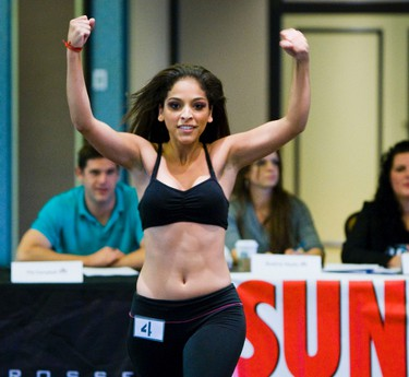 Keli dances for the judges during the 2012 Toronto Rock Cheerleader tryouts at the Westin Harbour Castle, in Toronto, on Oct. 16, 2011. (ERNEST DOROSZUK/Toronto Sun/QMI Agency)