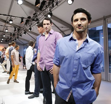 Models are shown wearing a piece from fashion house Robert Graham on October 19, 2011 at Toronto's LG Fashion Week. (MARK O'NEILL/QMI Agency)