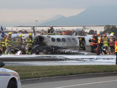 The remains of a King Air passenger plane lies on the road after crashing near the Vancouver International Airport in Richmond, B.C., Thursday, October 27, 2011. RICHARD LAM/ QMI AGENCY