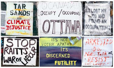 occupy-collage - November 17, 2011  - A collage of Occupy Ottawa signs in Confederation Park Thursday, November 17, 2011 illustrates the movements multi-faceted outlook as protestors prepare to take to the streets in a global day of action.  (Photo Illustration by DARREN BROWN/QMI AGENCY)