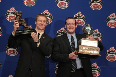 B.C. Lions Travis Lulay and Billy Greene (UBC) pose with their trophies at the Gibson's Finest CFL Player Awards in Vancouver, B.C. Nov 24, 2011. Winnipeg Blue Bombers and the B.C. Lions battle Sunday for the Grey Cup.  (ANDRE FORGET /QMI AGENCY)