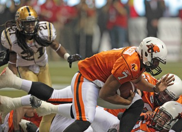 BC Lions quarterback Jarious Jackson pushes through with the ball during second quarter action at the CFL's 99th Grey Cup game at BC Place in Vancouver on Sunday November 27, 2011. ANDRE FORGET/QMI AGENCY