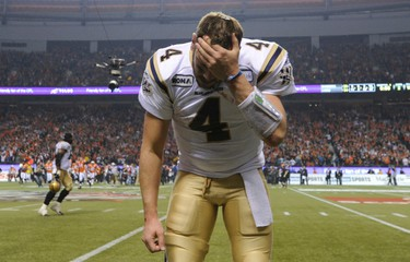 Winnipeg Blue Bombers quarterback Buck Pierce reacts after the BC Lions defeated them in the CFL's 99th Grey Cup football game in Vancouver, British Columbia November 27, 2011. REUTERS/Todd Korol (CANADA  - Tags: SPORT FOOTBALL)