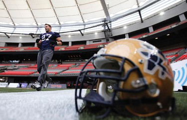 Winnipeg Blue Bombers Doug Brown during a team practice at BC Place in Vancouver, B.C. Nov 25, 2011. Winnipeg Blue Bombers and the B.C. Lions battle Sunday for the Grey Cup.  (ANDRE FORGET /QMI AGENCY)