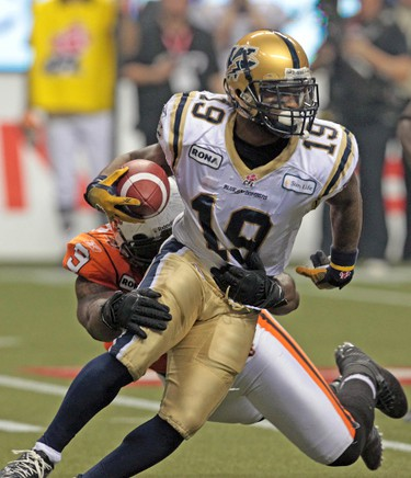 The Bombers' Chris Garrett went for 8 rushes, with a total of 26 yards.