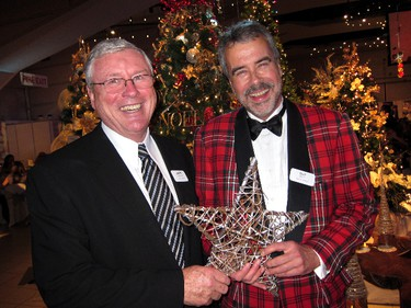 Representing the Festival's Presenting Sponsors, Larry Pollock,   President & CEO of the Canadian Western Bank, and W. Guy Scott,   founding partner of WAM Development Group