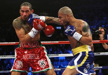 Miguel Cotto from Puerto Rico (R) lands a right hand to the head of Antonio Margarito from Mexico during their WBA World Junior Middleweight championship boxing match at New York's Madison Square Garden, December 3, 2011. Cotto retained his title with a technical knockout in the ninth round after the referee stopped the fight. (REUTERS/Mike Segar)