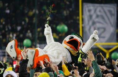 Fans carry an Oregon Ducks mascot after Oregon defeated UCLA in their Pac-12 Football Championship game in Eugene, Oregon, December 2, 2011. (REUTERS/Steve Dipaola)