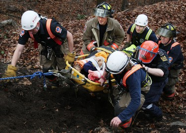 Sunday's falls was the second time that Gene St. Marie, 89, has tumbled over the bluffs while trying to dispose of leaves. (Craig Robertson/Toronto Sun)