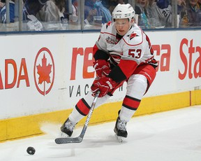 Hurricanes forward Jeff Skinner handles the puck in a game against the Maple Leafs at the Air Canada Centre in Toronto, Ont., Dec. 28, 2010. (CLAUS ANDERSON/Getty Images/AFP)