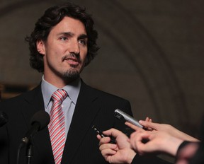 Liberal MP Justin Trudeau speaks to the media after Question Period in the Foyer of the House of Commons at Parliament Hill in Ottawa Nov 21, 2011. (ANDRE FORGET /QMI AGENCY)