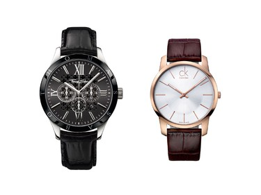 Man or woman you want to splash out on: Thomas Sabo men's watch ($498, ThomasSabo.ca) and CK City watch ($295, available at independent retailers and select the Bay stores), which is technically for a man, but the juxtaposition of men's styling and feminine rose gold would look most alluring on a woman's wrist. (Supplied)