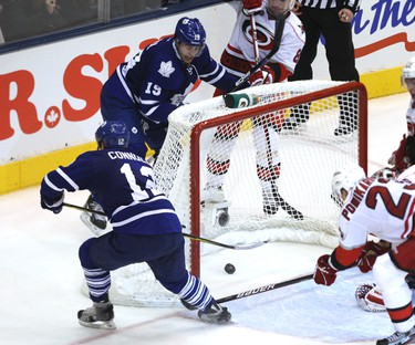 Leafs Tim Connelly scores the winning goal in overtime against the Carolina Hurricanes Tuesday at the ACC. Leafs win 2-1. MICHAEL PEAKE/TORONTO SUN/QMI AGENCY