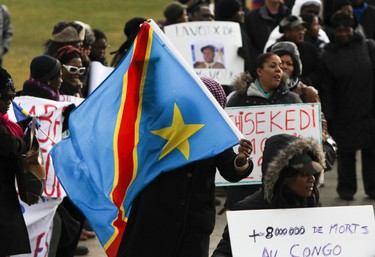 Protesters are seen on Parliament Hill in Ottawa Dec 16, 2011. The group is upset with the election results in the Congo. (ANDRE FORGET/QMI AGENCY)