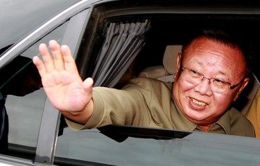 North Korean leader Kim Jong-il waves from his car after meeting Russia's President Dmitry Medvedev in Siberia's Buryatia region in this August 24, 2011 file photograph. (REUTERS)