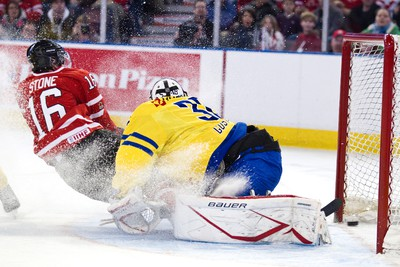 Team Canada's Mark Stone scores on Sweden's Johan Gustafsson during the first period of play at the Canada vs. Sweden IIHF World Junior Championship exhibition game at Rexall Place in Edmonton on Friday, December 23, 2011. CODIE MCLACHLAN/EDMONTON SUN QMI AGENCY