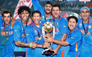 India won their first Cricket World Cup in 28 years against Sri Lanka who had last won in 1996. Both teams beat the heavily-favoured Australian team. The win was much sweeter for India as the final game was played the country's capital, Mumbai. (REUTERS/Adnan Abidi)