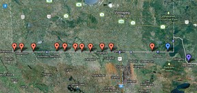A map of Manitoba's border crossings (red dots). (Google Maps)