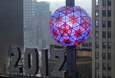 The New Year's Eve Ball, which measures 12 feet, weighs 11,875 pounds, and is adorned with 2,688 Waterford crystal triangles of various sizes is tested atop One Times Square in New York December 30, 2011. REUTERS/Mike Segar
