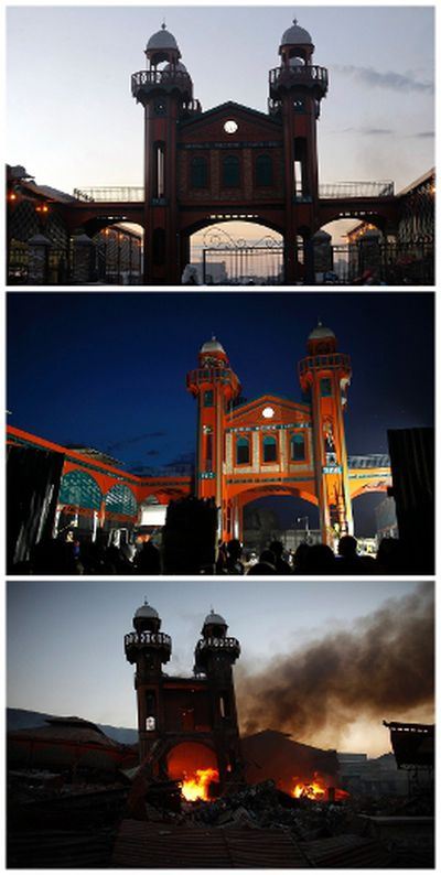 A combination photograph shows a fire burning at the Hyppolite iron market in downtown Port-au-Prince on January 29, 2010 (bottom), people looking at the newly reconstructed iron market before its inauguration on January 10, 2011 (middle) and almost two years later on December 29, 2011.  REUTERS/Jorge Silva/Files and Swoan Parker (bottom)