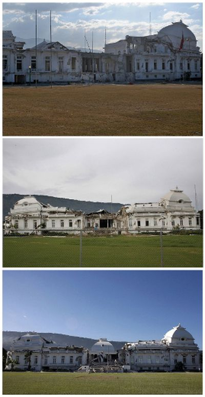 A combination photograph shows the badly damaged presidential palace after an earthquake in Port-au-Prince, on January 13, 2010 (bottom), eight months later on September 30, 2010 (middle) and almost two years later on December 28, 2011. Despite billions of dollars pledged by donors to help Haiti rebuild, two years later, reconstruction efforts remain painstakingly slow. REUTERS/Eduardo Munoz/Files and Swoan Parker (top)