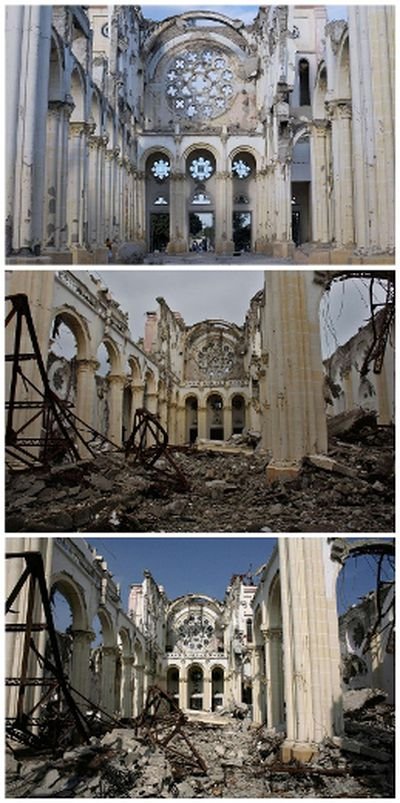 A combination photograph shows the badly damaged Cathedral after an earthquake in Port-au-Prince on March 18, 2010 (bottom), on September 30, 2010 (middle), and almost two years later on December 29, 2011. Despite billions of dollars pledged by donors to help Haiti rebuild, two years later, reconstruction efforts remain painstakingly slow. REUTERS/Eduardo Munoz/Files and Swoan Parker (top)