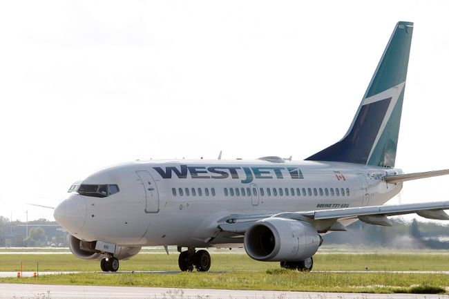 A WestJet plane. File photo