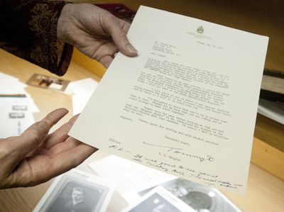 A letter written and signed by former federal NDP leader Tommy Douglas is shown at Jeffrey Hoare Auctions in London on Tuesday January 17, 2012. (CRAIG GLOVER/QMI AGENCY)