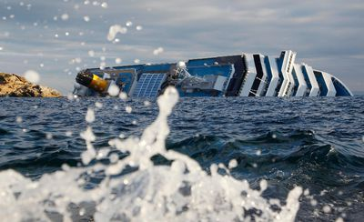 A view of the Costa Concordia cruise ship that ran aground off the west coast of Italy, at Giglio island, January 18, 2012. REUTERS/ Max Rossi