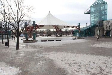 Winnipeggers enjoyed record setting warm weather today, the high was 7 degrees C.  This is The Forks.  Thursday, January 5, 2012..  Chris Procaylo - QMI Agency
