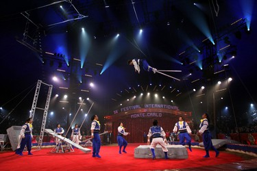 """Artists of """"Shanghai Circus"""" perform during the awards ceremony for the 36th Monte Carlo International Circus Festival in Monaco January 24, 2012. REUTERS/Valery Hache/Pool"""