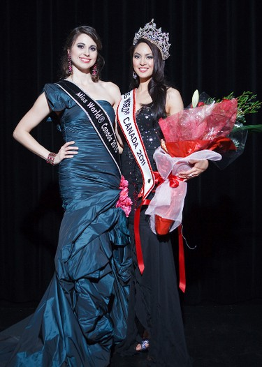 Miss World Canada for 2010, Denise Garrido (left) passes on her crown to a new Miss World Canada 2011, Riza Santos, at the annual pageant, Thursday, May 19, 2011 in Vancouver, British Columbia. ANDREW CHIN/SUBMITTED