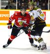 Brampton Battalion captain Sam Carrick (right) has his club battling the Niagara IceDogs for top spot in the OHL Central Division. (QMI AGENCY)