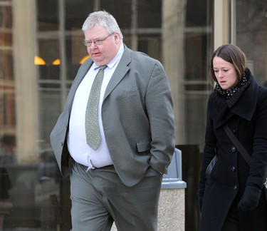 Mark Stobbe, a former Manitoba and Saskatchewan government employee accused of killing his wife Beverley Rowbotham at their home in St. Andrews in 2000, leaves the Law Courts on Mon., Jan. 30, 2012. Stobbe is on trial for second-degree murder. JASON HALSTEAD/WINNIPEG SUN QMI AGENCY